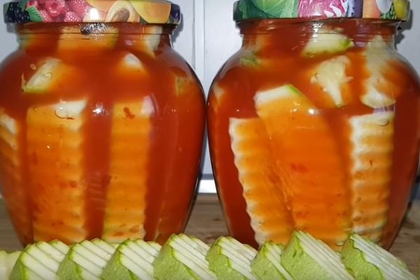 Маринованные кабачки с кетчупом