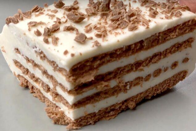 Торт без выпечки из печенья и творога с желатином