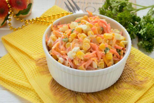Салат з корейською морквою і кукурудзою