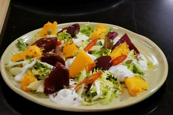 Салат с отварной свеклой и тыквой