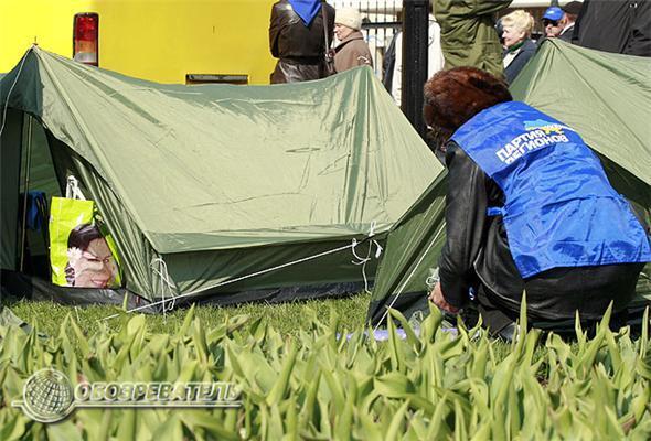 ЦИК в осаде. Палатки ставят прямо на клумбах с тюльпанами