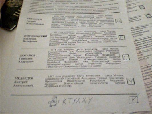 Вибори в Россіі.Проголосовалі за лосів, Чака Норріса і Конні