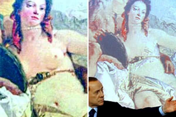 Берлускони постеснялся голой женщины в зале для прессы