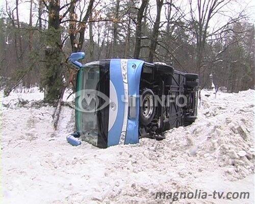 На Киевщине перевернулся автобус (ФОТО)