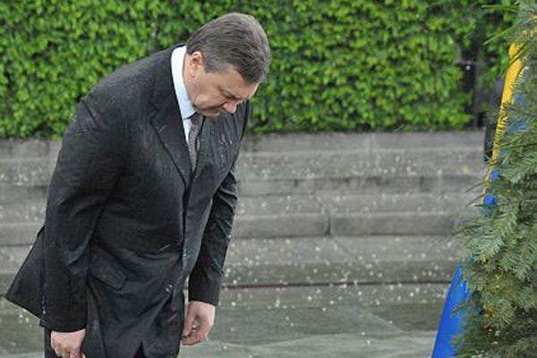 На Януковича упал венок. ФОТО, ВИДЕО