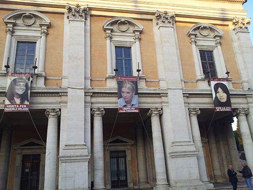 В Риме вывесили портрет Тимошенко. Фото