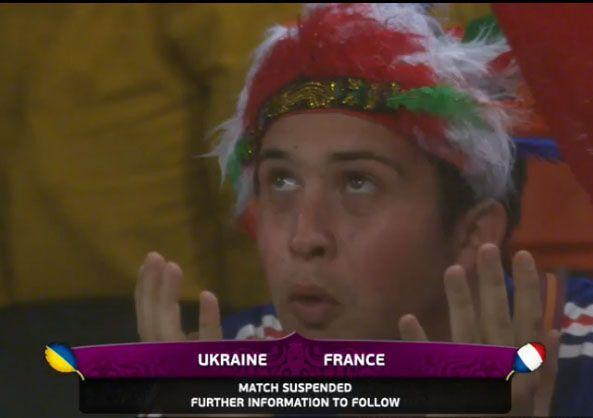 Матч Украина - Франция прервал дождь. Фото. Видео