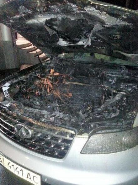 Помощнику ударовца Каплина сожгли автомобиль Infiniti FX