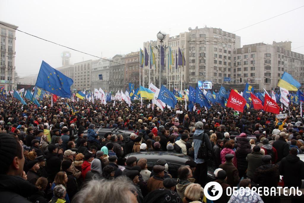 Киевский Евромайдан собрал 100 тысяч участников