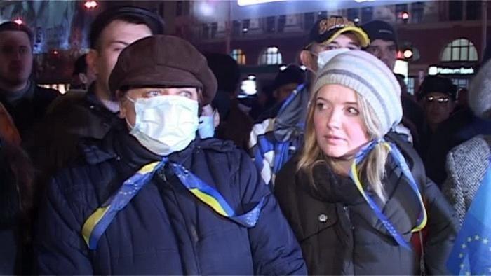 В Харькове участники Евромайдана вышли на митинг в медицинских масках