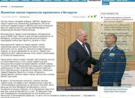 Держагентство Білорусі написало про отруйного павука-тарантула Лукашенко