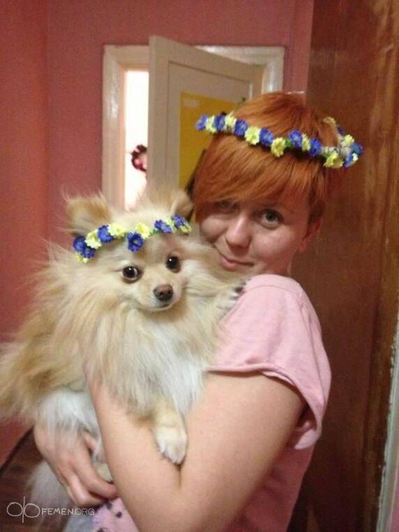 Лідера FEMEN побили у Києві і викрали собаку