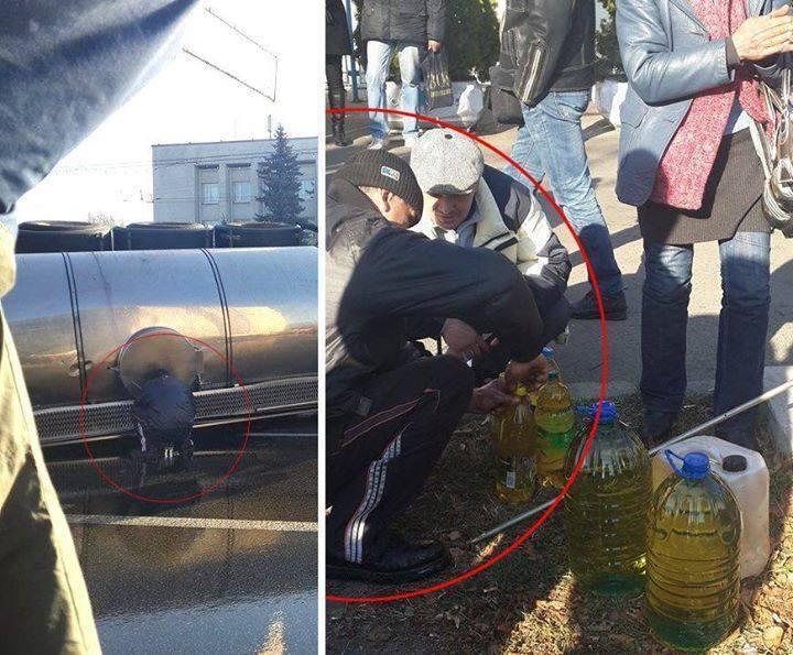 """""""Любители халявы"""" прямо на месте аварии в Киеве крадут подсолнечное масло: опубликованы фото"""