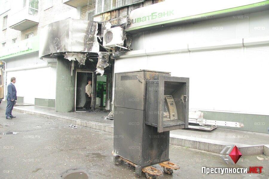 В Николаеве ночью горело отделение банка Коломойского