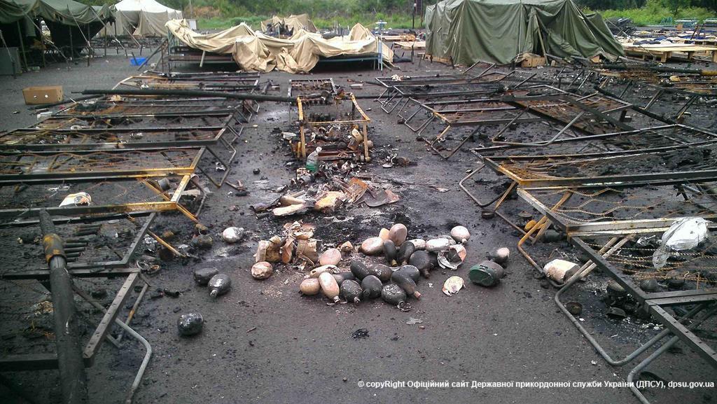 Госпогранслужба показала последствия обстрела террористами лагеря в Алексеевке