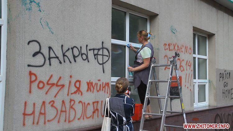 У Житомирі активісти атакували відділення ряду російських банків
