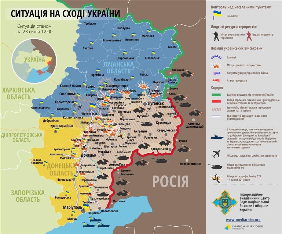 Террористы и войска РФ провели массированные атаки по всем направлениям: карта АТО