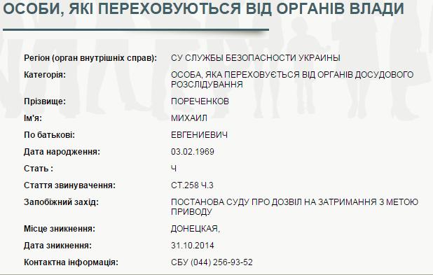 Украина объявила в розыск Пореченкова