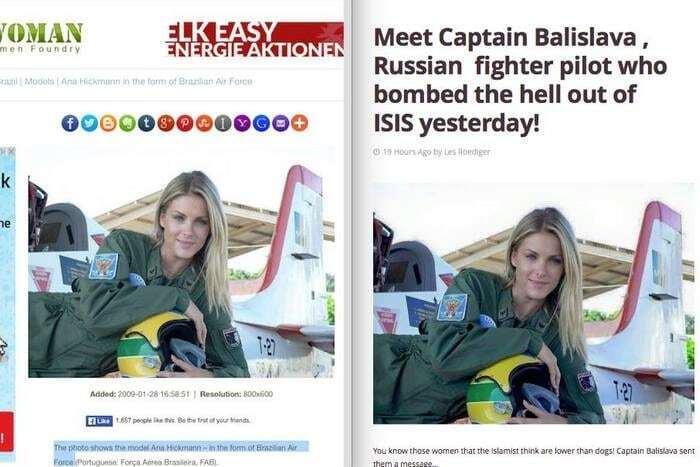 """""""Капітан Баліслава"""": бразильська модель раптово стала """"російською льотчицею, що бомбить Сирію"""""""