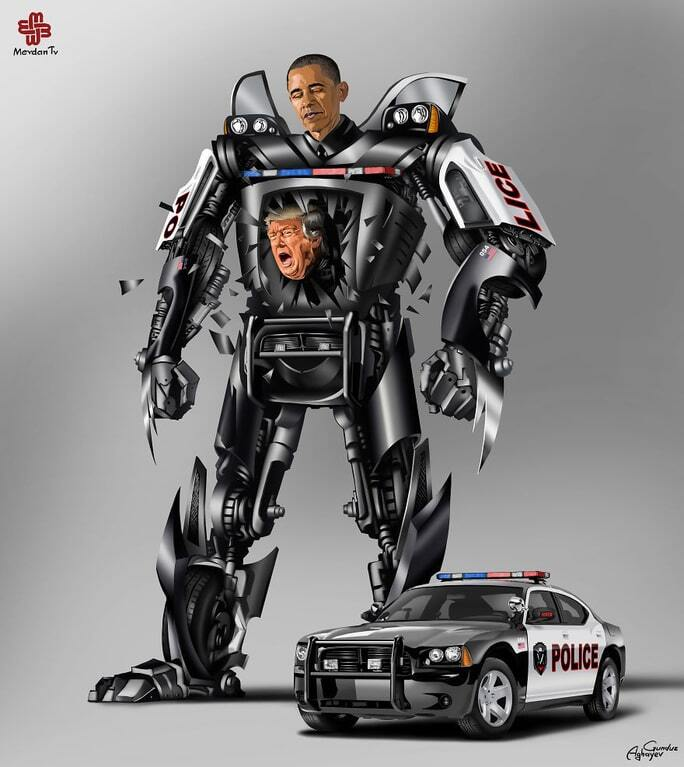 Художник изобразил Путина, Обаму и других политиков роботами