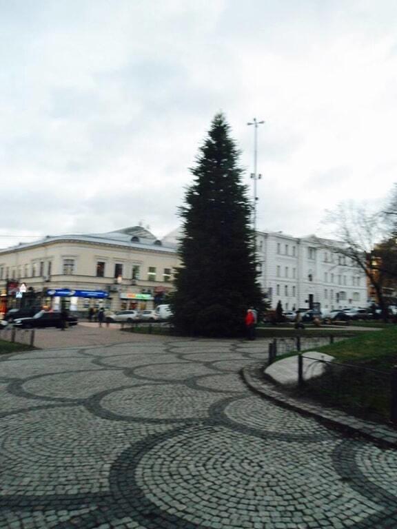 У Києві на Подолі встановили першу новорічну ялинку: фотофакт