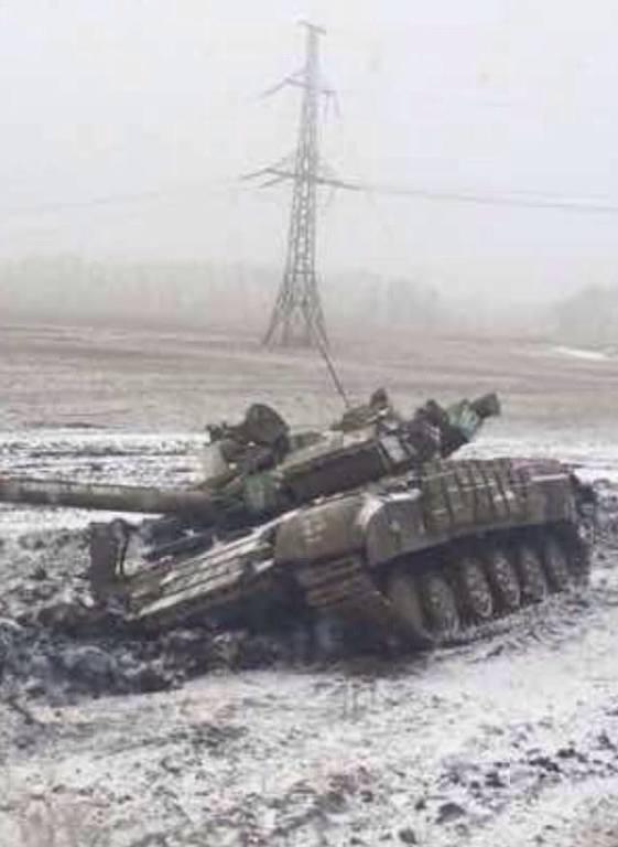 Донецкий партизаны подорвали еще один танк боевиков: фотофакт