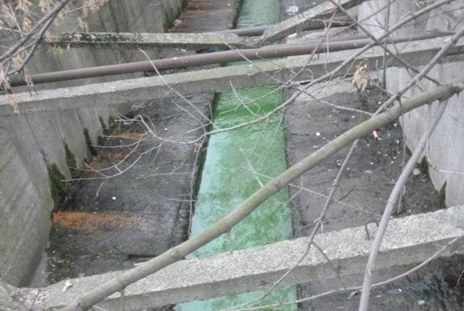 В Киеве позеленела вода в реке Лыбидь: фотофакт