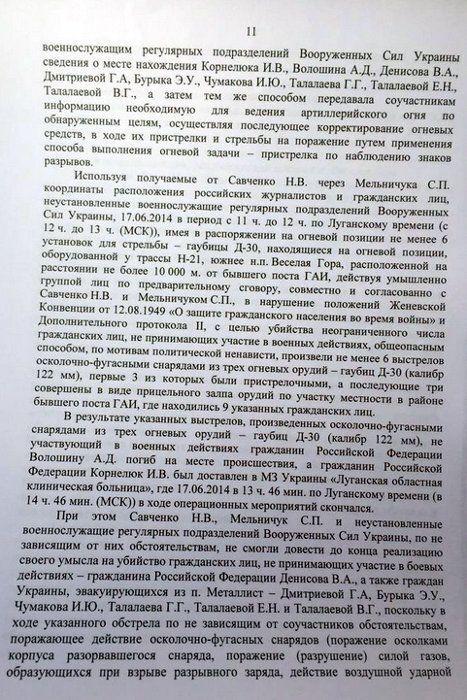 Опубликован полный текст окончательного обвинения Савченко