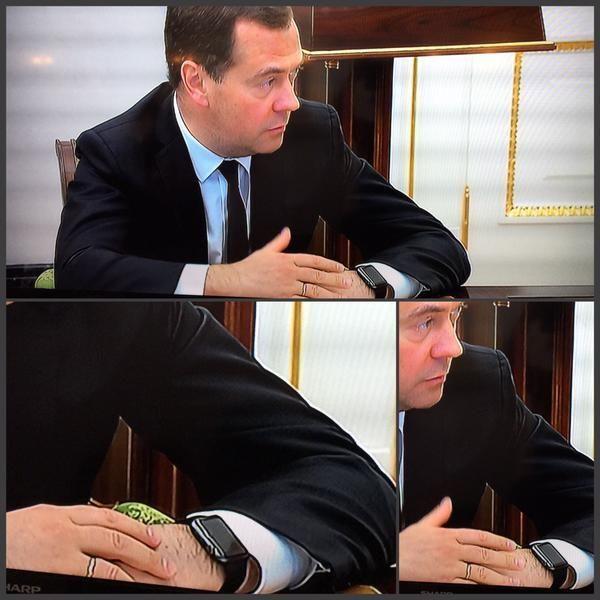 А как же санкции? Медведев пришел к Путину в часах Apple Watch