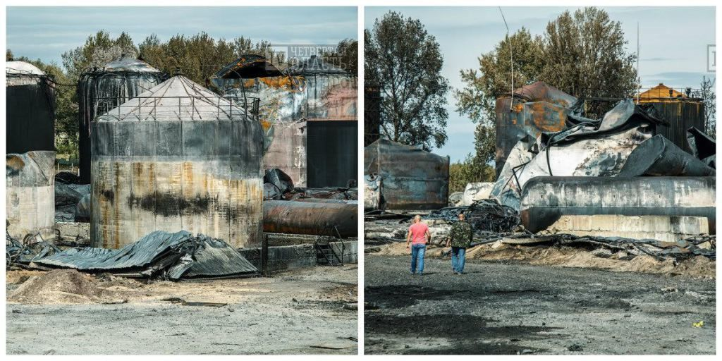 У мережі показали фото наслідків пожежі на нафтобазі під Васильковом