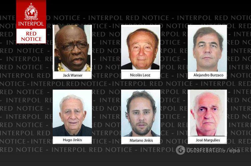 """Интерпол открыл охоту на высших чиновников ФИФА: фото """"героев"""""""