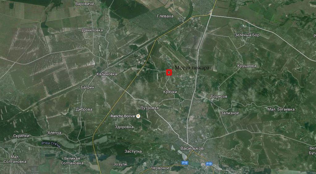 Карта пожара на нефтебазе в Василькове: до Глевахи 4 км, до Василькова - 5 км