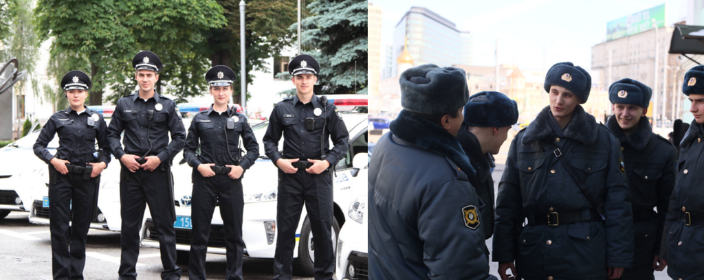 Украинские копы против российских полицейских: красноречивые фото