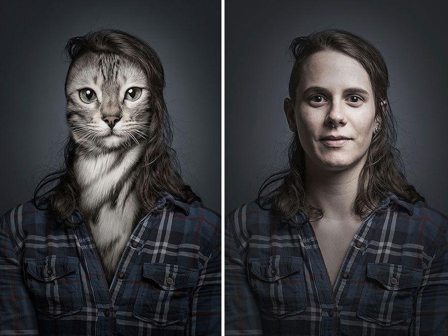 Люди-коти. Фотограф поставив поруч тварин та їхніх господарів