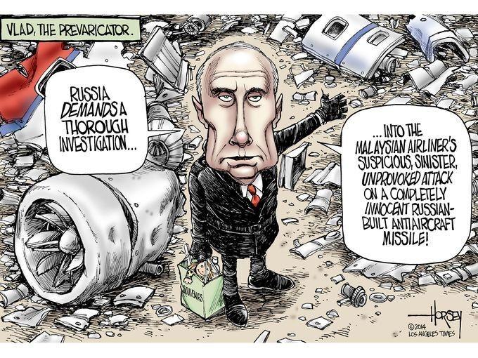 """""""Putin kills"""": карикатури світових ЗМІ на винуватця аварії Boeing-777"""