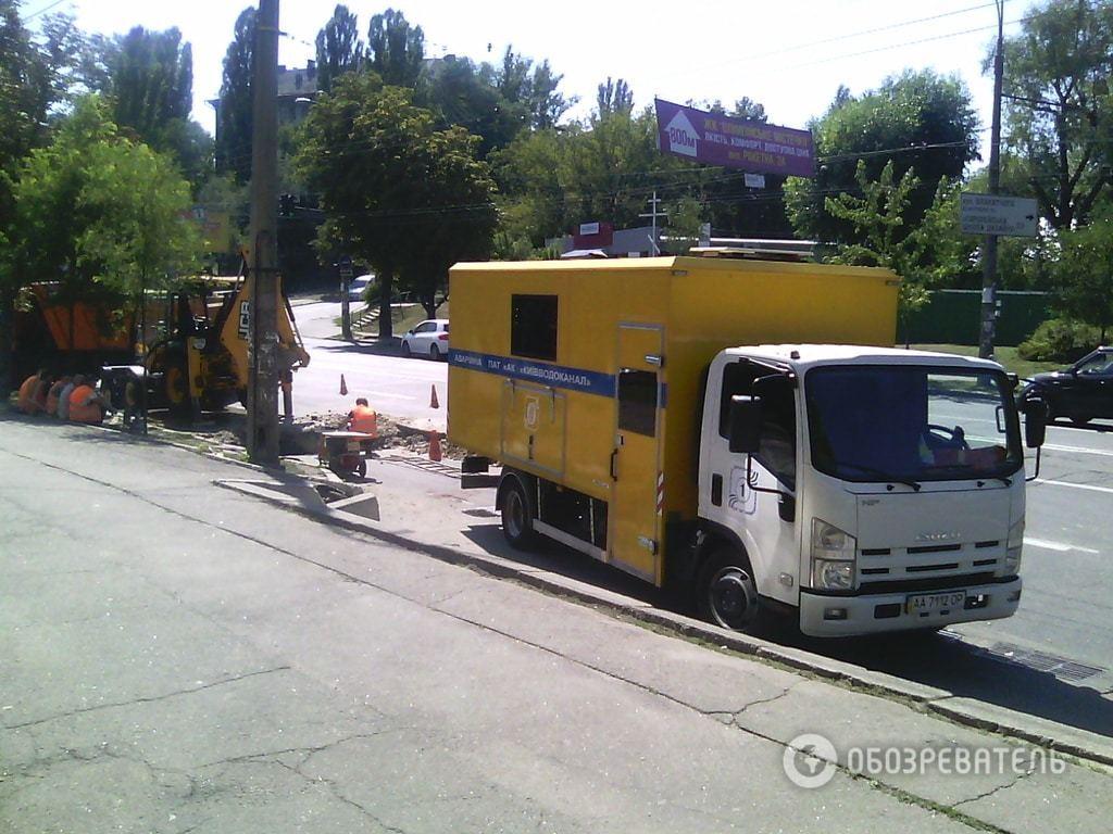 На киевской улице провалился асфальт