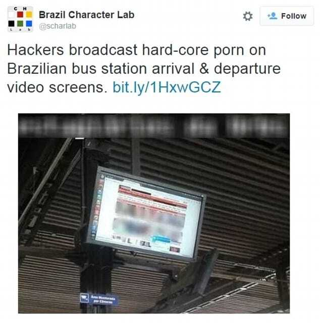 В Бразилии на автобусной остановке внезапно показали порноролик: фотофакт