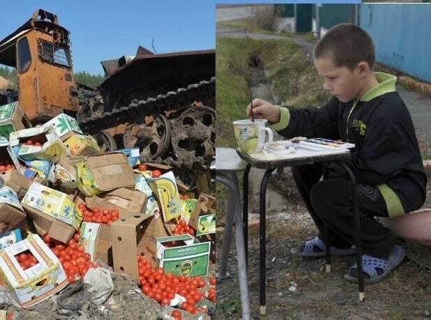 Поки кожен 9-й житель Землі страждає від голоду, в Росії спалюють продукти: порівняння в сильних фото