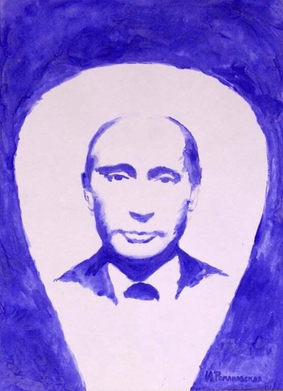 В России художница написала портрет Путина обнаженной грудью