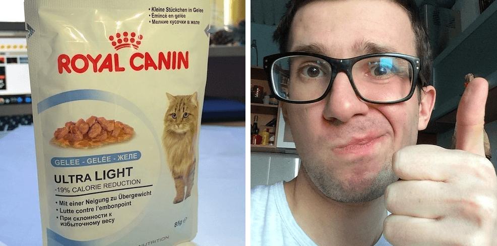 Слабоумие и отвага: парень попробовал на вкус 12 кошачьих кормов