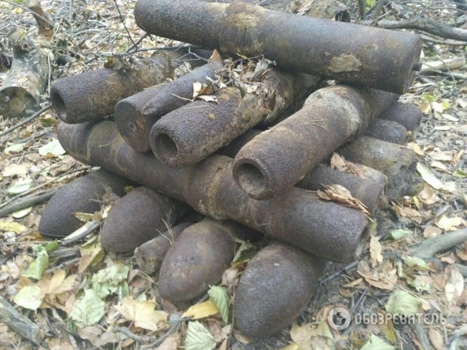 Под Киевом обнаружили набитый снарядами блиндаж