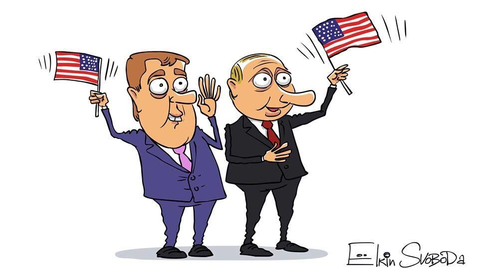 Вова і бос: художник намалював карикатуру на Путіна і Трампа