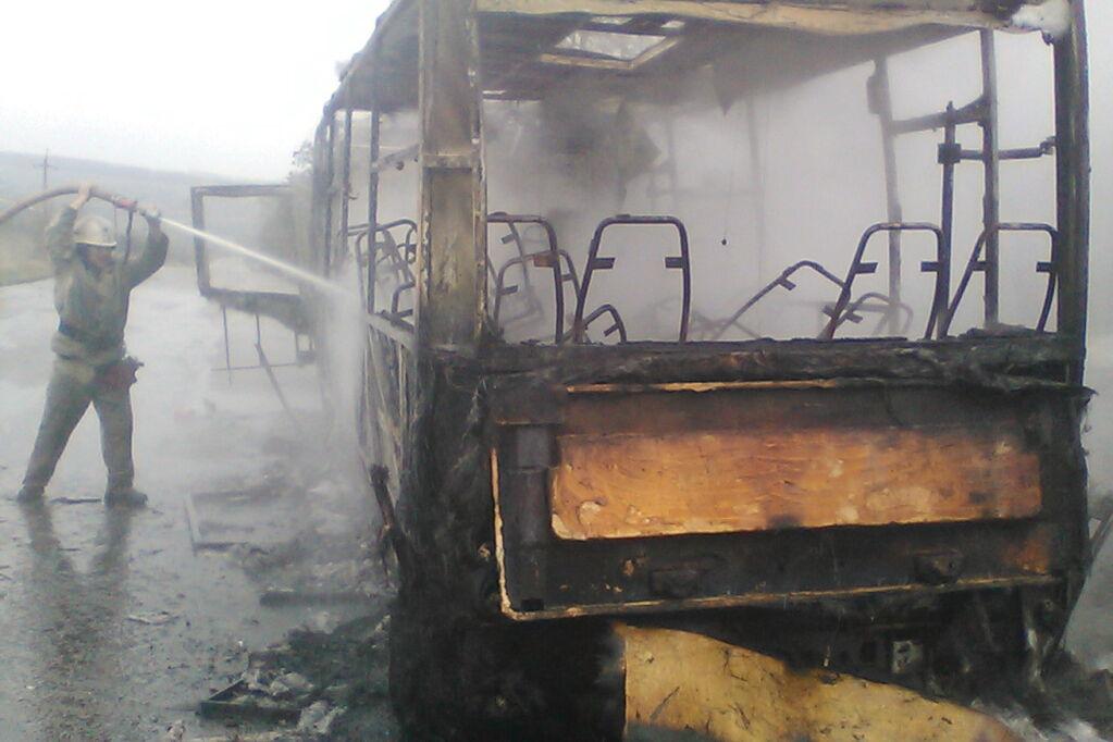 У Харківській області під час руху загорівся автобус із пасажирами