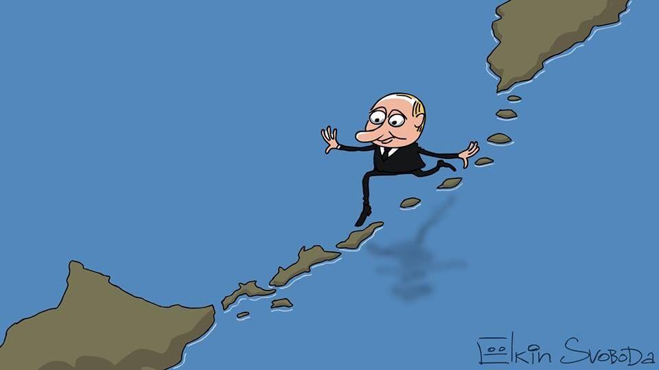 """""""Бежит вприпрыжку по Курилам"""": в карикатуре высмеяли визит Путина в Японию"""