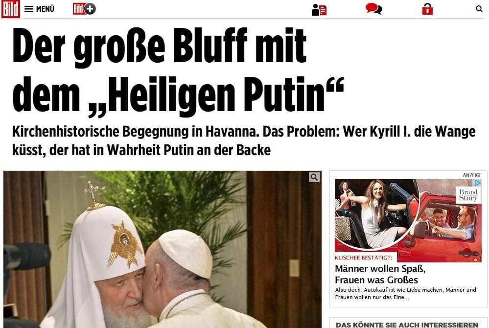 Поцелуи на щеке Папы Франциска оставлял Путин - Bild