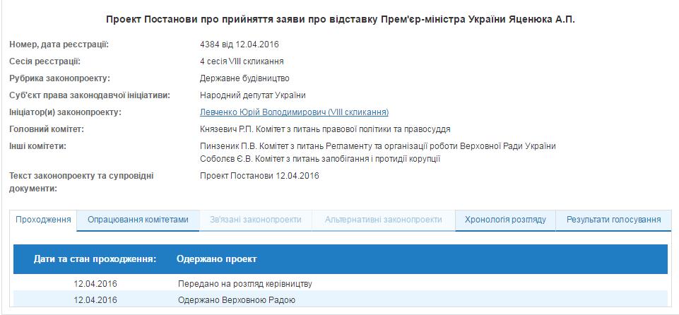 В Раде зарегистрирован проект постановления об отставке Яценюка