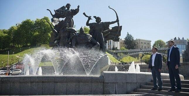 В центре Киева начали работать фонтаны