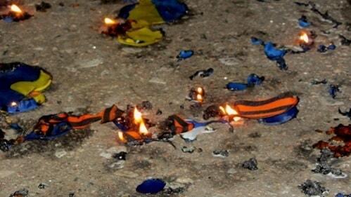 У центрі Краматорська спалили георгіївські стрічки