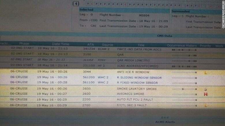 За минуты до крушения EgyptAir произошло задымление на борту - СМИ