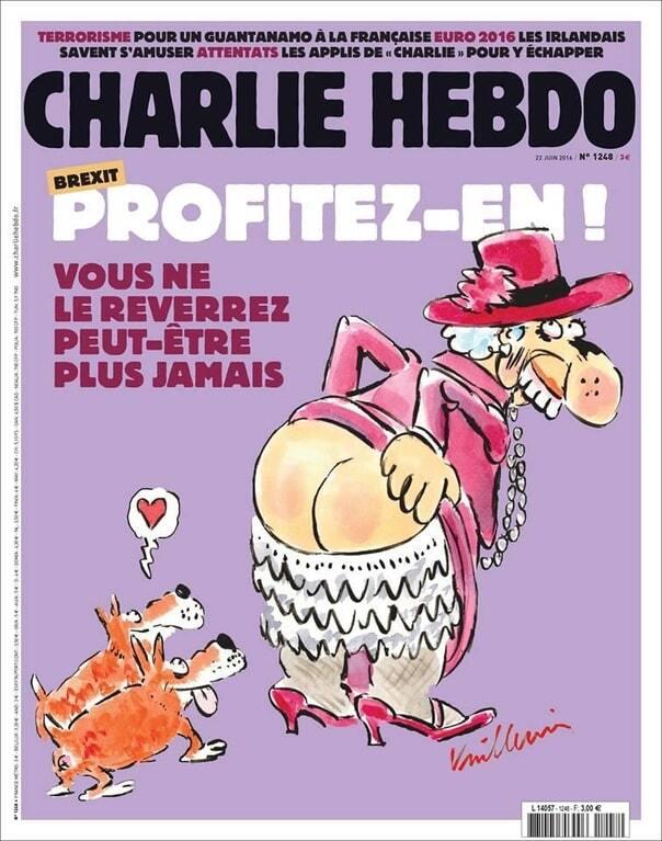 """Ягодицы королевы"": Charlie Hebdo блеснул карикатурами о Brexit"